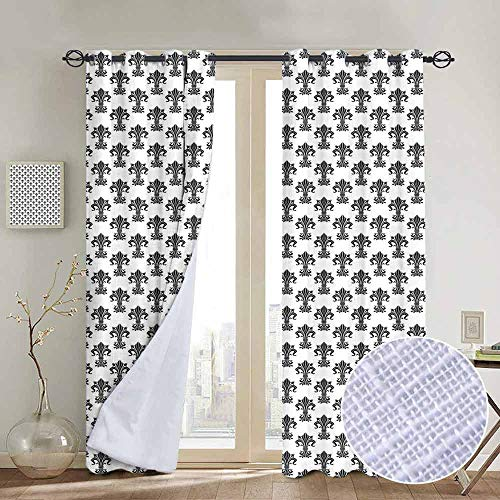NUOMANAN Light Blocking Curtains Fleur De Lis,Historical European Heraldry Symbol with Rich Iris Buds and Curved Leaves,Black White,for Bedroom, Kitchen, Living Room 54