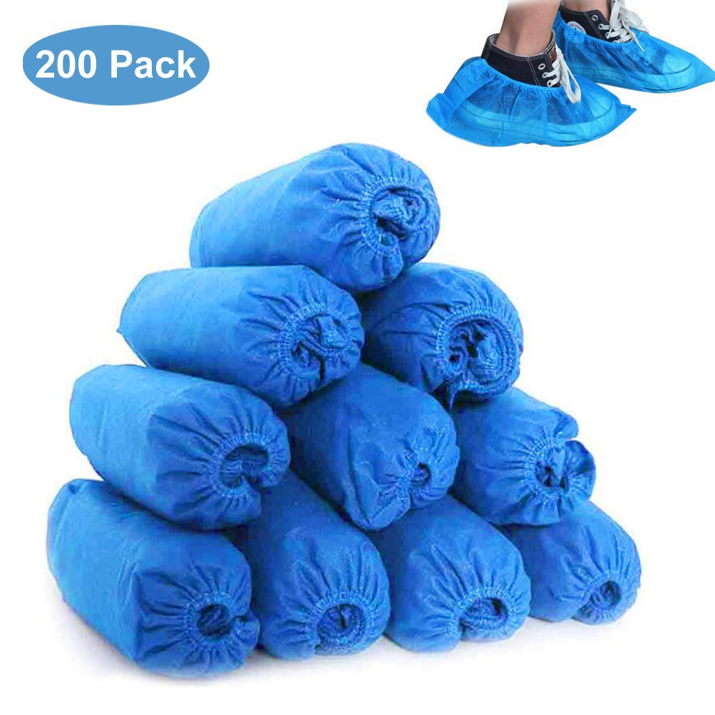 Shoe Covers Disposable, Boot Covers 200 Pack (100 Pairs) Non-Slip, Durable, Protect Your Home, Floors and Shoes, One Size Fits All Up to XL by JULAM