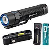 Olight S2 Baton Cree XM-L2 LED 950 Lumens Variable-Output Side-Switch LED Flashlight With 18650 Battery and Battery Charger and SKYBEN Holster