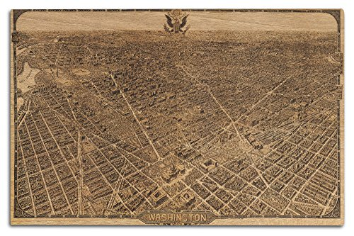 (Lantern Press District of Columbia, Washington - Panoramic Map (12x18 Wood Wall Sign, Wall Decor Ready to Hang))