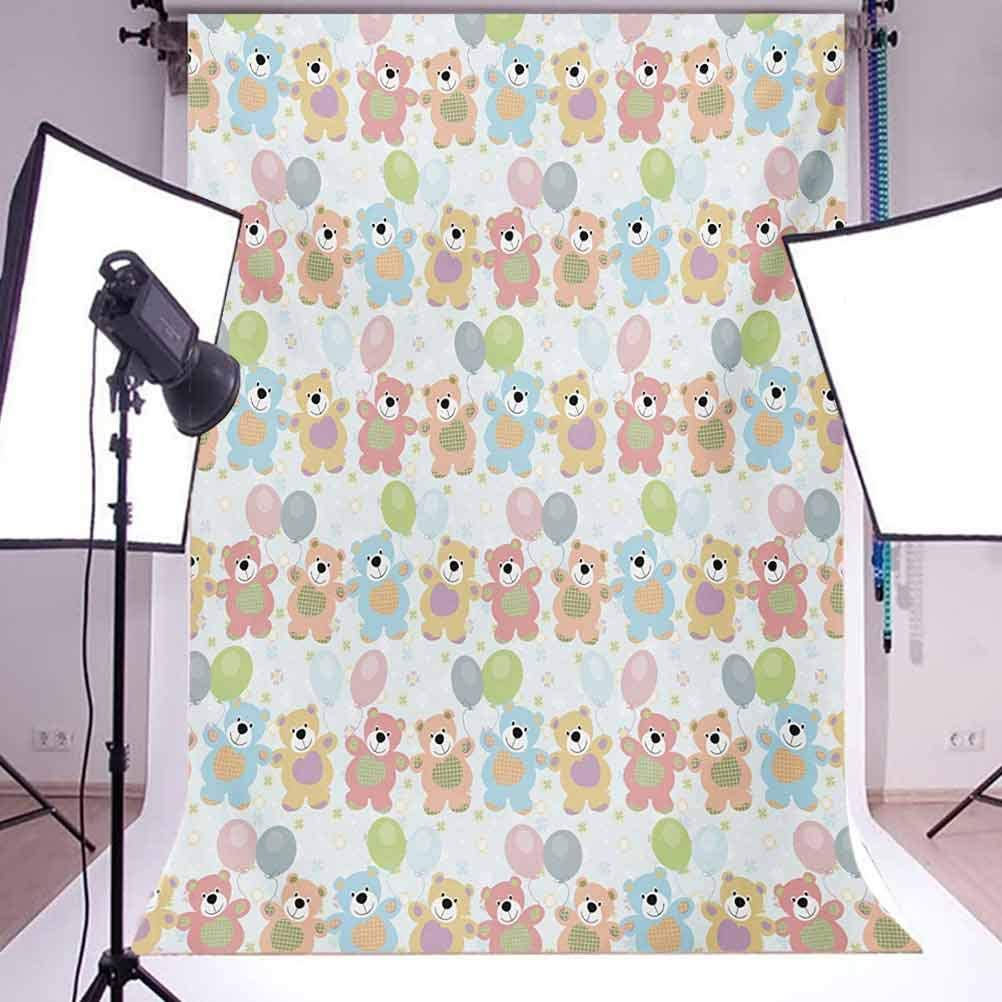 Nursery 10x15 FT Backdrop Photographers,Happy Teddy Bears Balloons Celebrating Cute Drawing Effect Background for Baby Birthday Party Wedding Vinyl Studio Props Photography