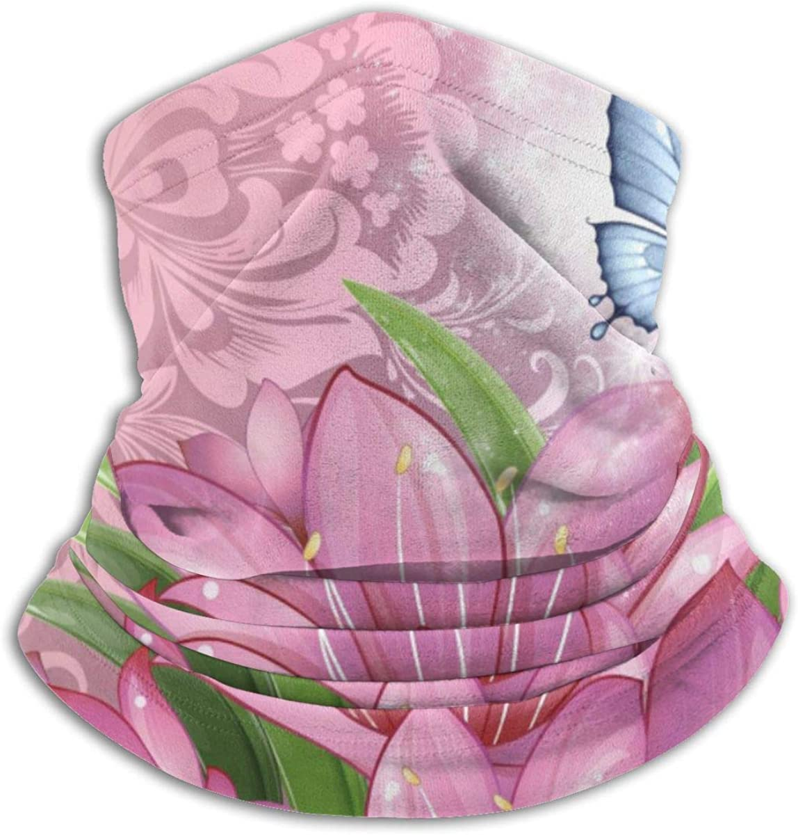Towilliamsnya Face Scarf Pink Flowers Wallpaper Headband Scarf Balaclava