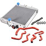 New 2 ROW Core Inlet/Outlet 32mm Performance Aluminum Racing Cooling Radiator with Hose Kit