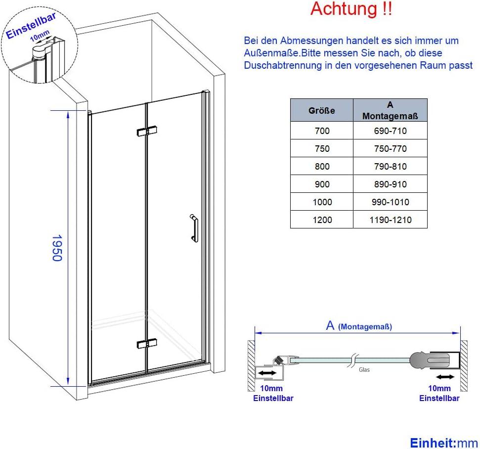 WELMAX Duscht/ür 70x195 cm Faltt/ür Nischent/ür Nischenfaltt/ür Duschabtrennung Dusche Schwingt/ür Duschwand Klarglas 6mm ESG Sicherheitsglas mit Beidseitiger Nano Beschichtung