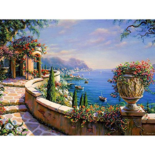 Hukai DIY Digital Oil Painting Paint by Numbers On Canvas Home Room Decoration Needlecrafts Paintworks Paint By Number (Harbor - Numbers On Frames Glasses