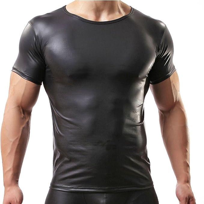 YiZYiF Camiseta Manga Corta Lencería Hombre Sexy Negro Blusa de Charol Clubwear Negro M