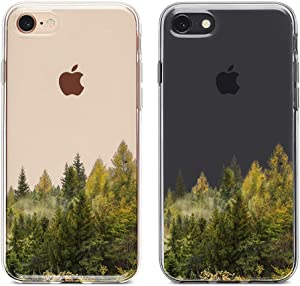 "uCOLOR Forest Landscape Clear Case for iPhone 8/7, iPhone 6 6S Case iPhone SE 2nd Transparent Slim Case Protective Soft TPU Bumper+Hard PC Back Cover for iPhone 7/8/6S/6/SE 2nd (4.7"")"