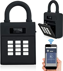 Security Lock Box, Bluetooth Smart Secured Lock Box with Management APP, Electronic Digital Security Safe Lock Box with Functions of Remote Authorization and Viewing Unlocking Records