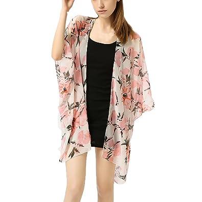 6ca6b0a9a Fashion Women Girls Chiffon Cardigan Fruit Printed Shawl Coats ...