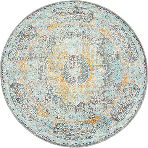 Unique Loom Geometric 5 feet 4 inches Round (5′ 4″ Round) Havana Blue Area Rug For Sale