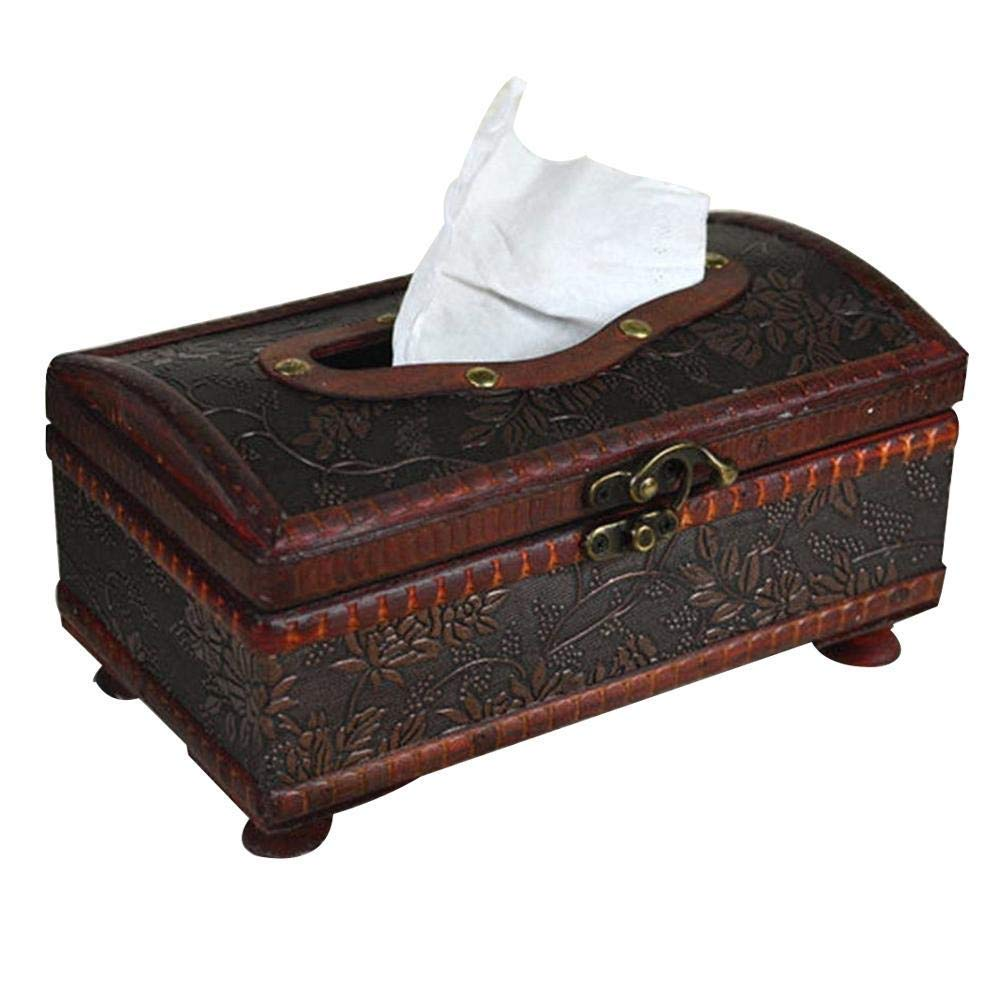 HapHomeSPus Archaizing Handmade Tissue Paper Holder Wooden Rectangular Napkin Tissue Dispenser Box Cover Case for Car Home Hotel Bar Decoration Home Office Lavatory Automotive Decoration by HapHomeSPus