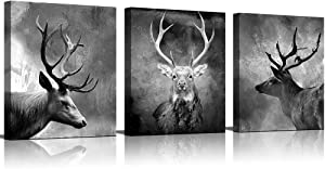Canvas Wall Art Painting Black And White Abstract Deer Picture For Living Room Animals Pictures Photo Prints On Canvas for Home Modern Decoration Framed Ready to Hang