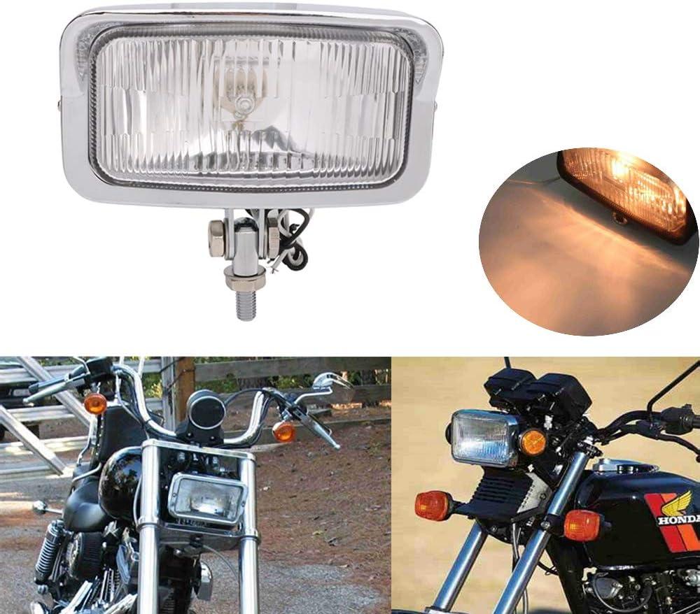Faro de motocicleta Estilo retro Moto Faro delantero redondo LED Faro de aleaci/ón negro Carcasa de lente blanca L/ámpara de cabeza de motor para CG125 GN125