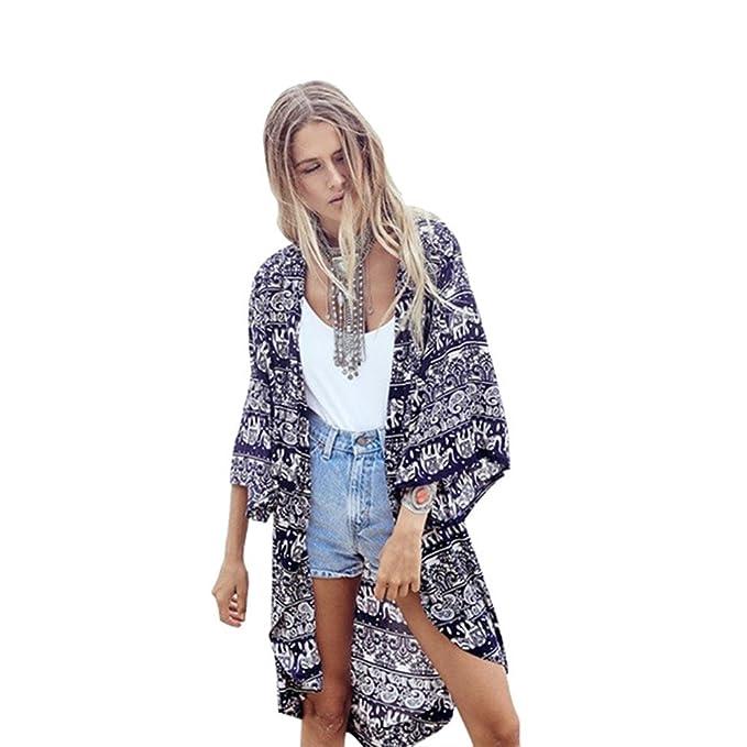 BB & KK de verano para mujer geométrico impreso blusa Kimono Cardigan