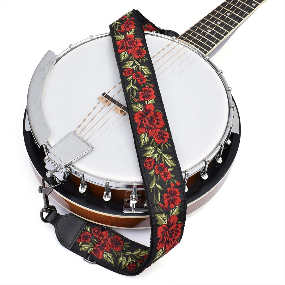 CLOUDMUSIC Banjo Strap Guitar Strap For Handbag Purse Jacquard Woven With Leather Ends And Metal Clips Red Roses