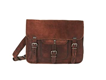 Mens Medium Leather Satchel Briefcase Laptop Shoulder Bag by Vida ...