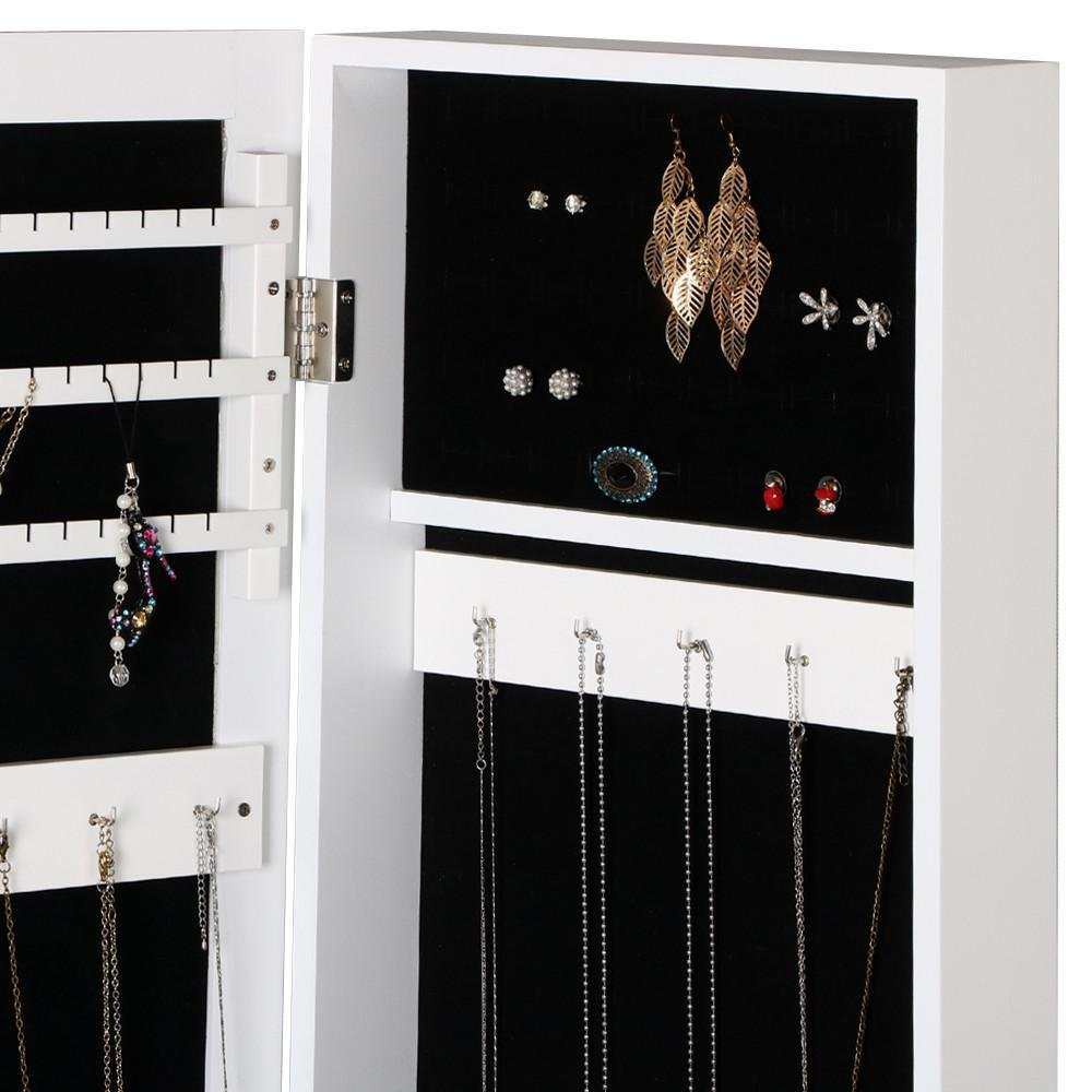 Yaheetech Mirrored Jewelry Cabinet Armoire Mirror Organizer Storage Box with Stand, White