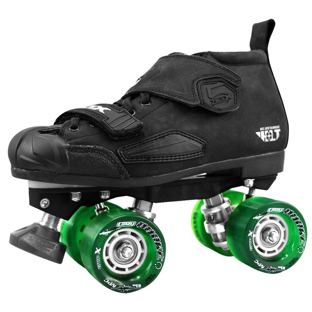 Crazy Skates DBX (Ne) Neon Roller Skates - with Green 96a Quake Slim Wheels (Eu37 / US M5-L6) by Crazy Skates