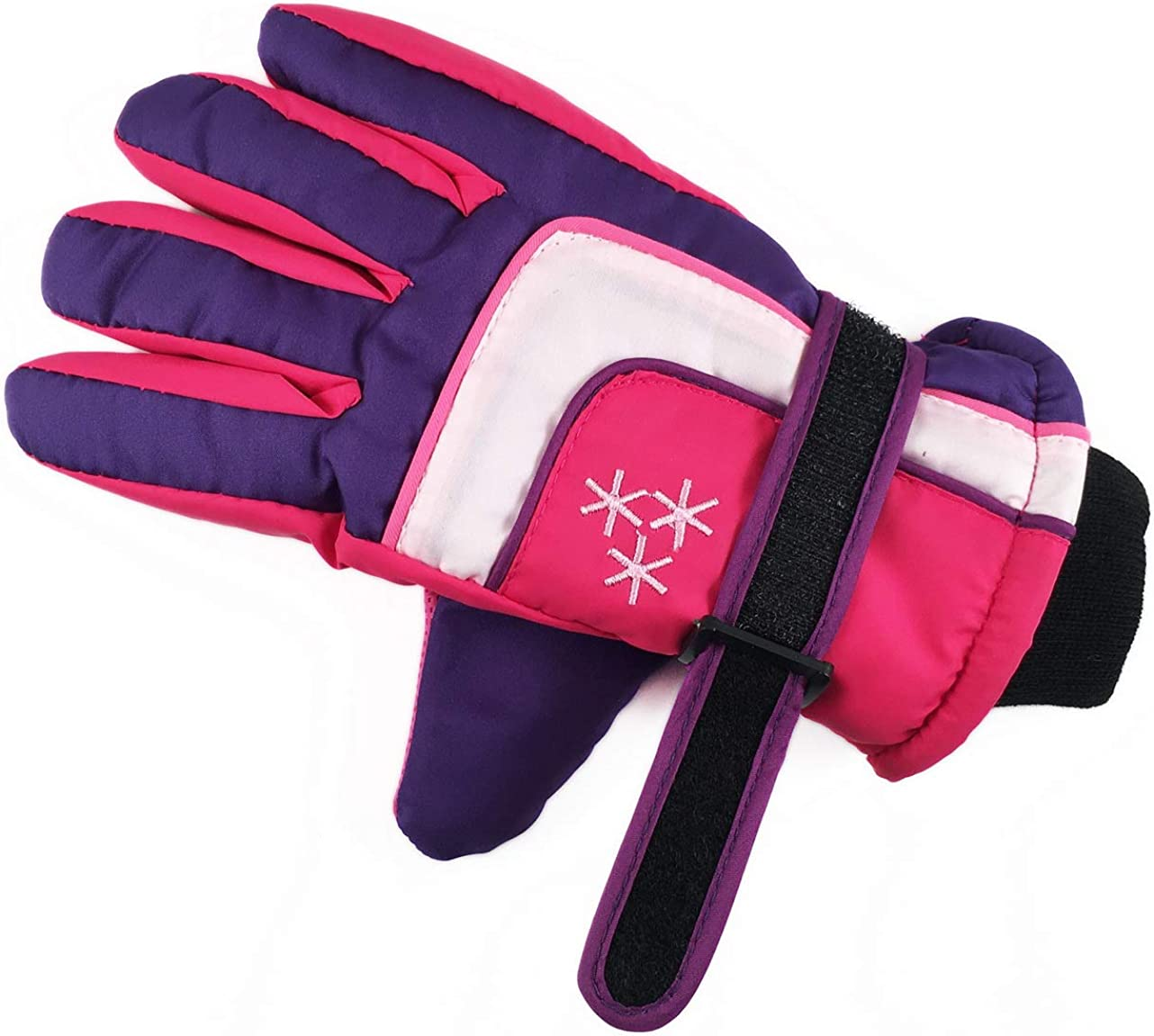 Insulated Winter Cold Weather Ski Gloves for Kids (Boys and Girls) Waterproof Windproof (Purple): Clothing