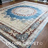 Yilong 10 x14  High Line Handmade Pure Silk Rug Oriental Qum Floral Medallion Hand Knotted Home Carpet (Light...