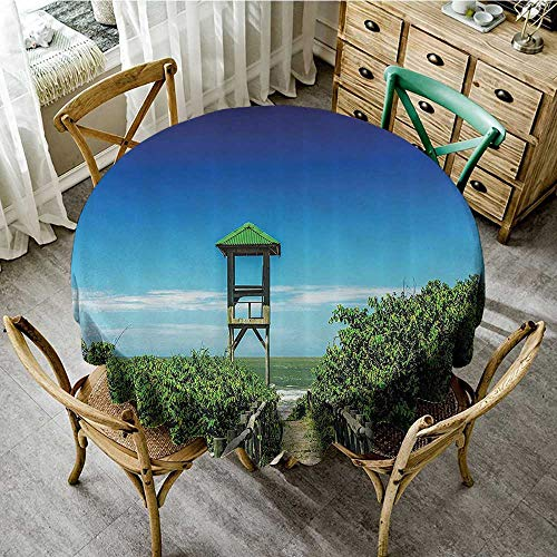 familytaste Print Tablecloth Waterproof Seaside Decor Collection,Jetty Pier Leading to Tropical Seacoast Greenery Bushes Sand Travel Destinations Image,Green Blue D 70