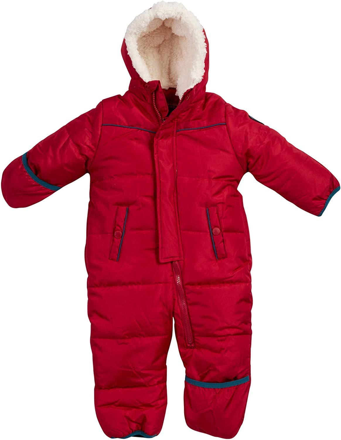 Ben Sherman Baby Boys Bubble Snowsuit Polar Fleece Lined Pram with Sherpa Fur Hood Newborn//Infant