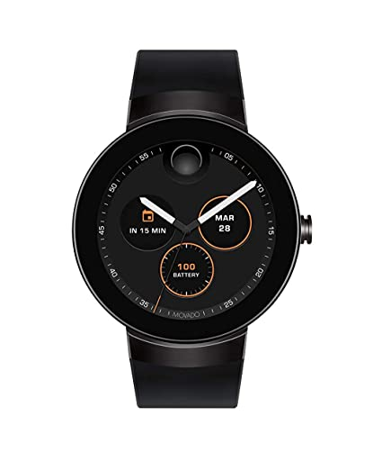 Movado Connect Digital Smart Module Black PVD Smartwatch, Black/Black Strap (Model 3660018)
