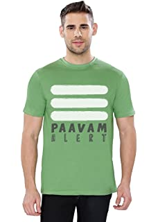 5672c252f The Souled Store Paavam Alert Funny Printed Premium Green Cotton T-Shirt  for Men Women