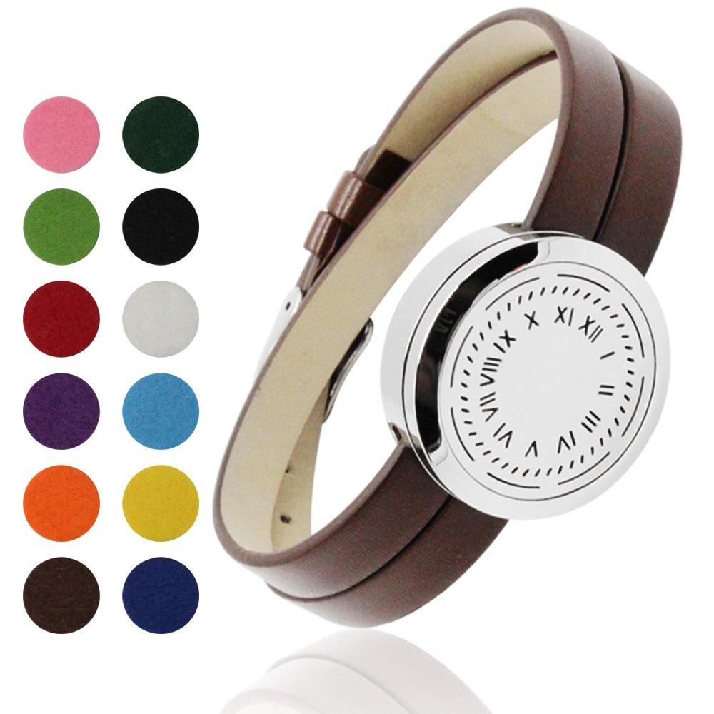 coohaaステンレススチールファッションアロマ香りOil Diffuserブレスレットwith 12色パッド。。。 B075VQ5Q6X Bracelet Brown