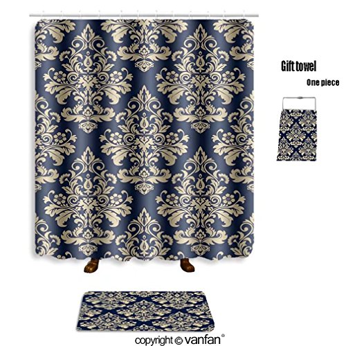vanfan bath sets with Polyester rugs and shower curtain floral pattern wallpaper baroque damask seaml shower curtains sets bathroom 54 x 78 inches&23.6 x 15.7 inches(Free 1 towel and 12 hooks)