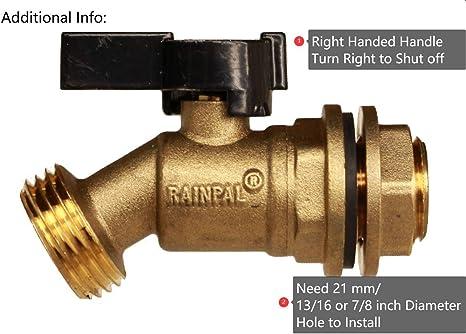 Rain Barrel Quarter Turn Ball Valve Spigot with Bulkhead Fitting WADEO Brass Rain Barrel Spigot