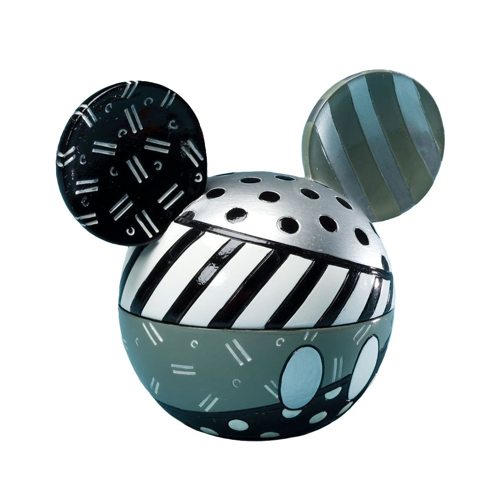 Enesco Disney by Britto from Mickey Head Black and White Covered Box 4''.