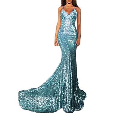 Blue Sparkly Mermaid Prom Dress