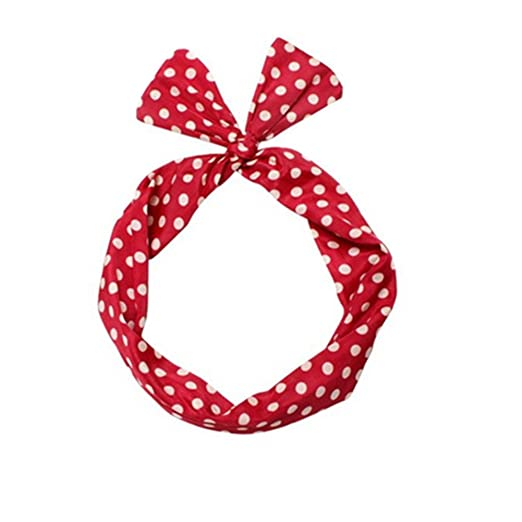 Shop 1950s Hair Accessories Sea Team Wire Headband Stylish Retro Bowknot Polka Dot Wire Hair Holders for Women and Girls Red $7.99 AT vintagedancer.com