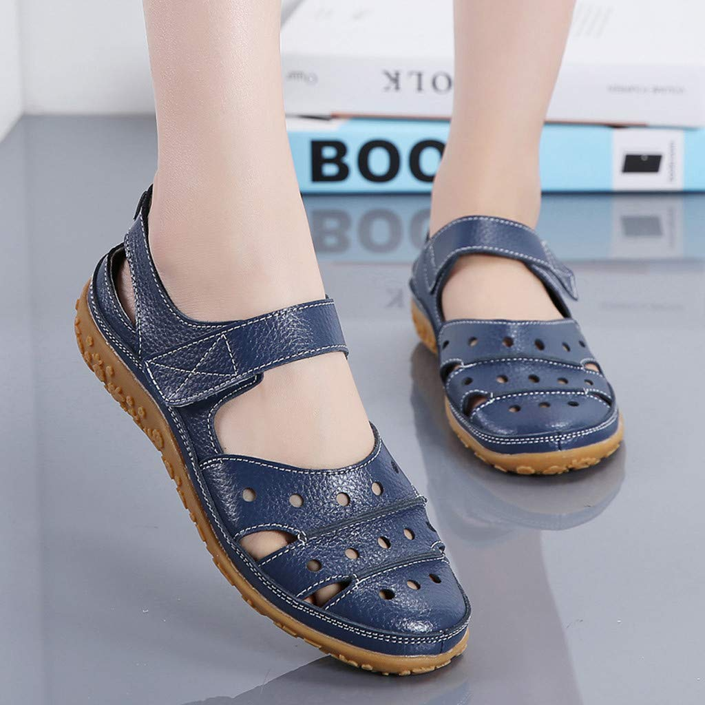 Women's Slip On Loafers Hollow Out Breathable Roman Sandals Casual Comfort Walking Flats Shoes (Light Blue, 8.5 M US) by Sinaou Women Shoes (Image #4)