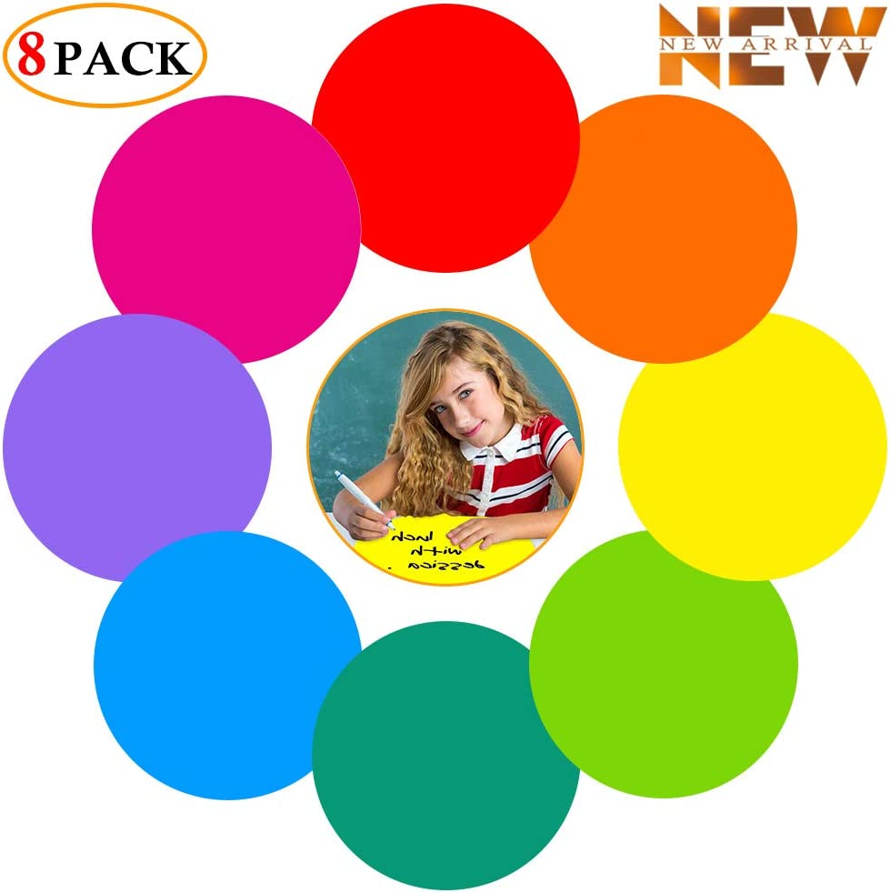 Colorful Dry Erase Dots Circles Whiteboard Marker Removable Vinyl Stickers Spots Wall Decals for School Classroom Teachers Students Table & Desk (8 Pack)