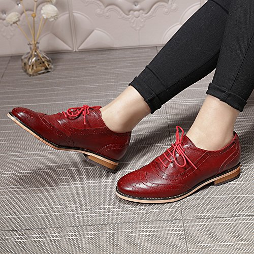 Mona Flying Women's Leather Perforated Lace-up Oxfords Shoes for Women Wingtip Multicolor Brougue Shoes Red latest for sale xcbtB6tu