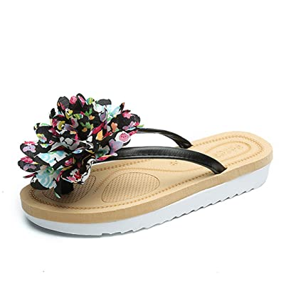 4586ea5279d674 Gaorui Women Flower flip Flops Toe Post Thongs Sandals Beach Shoes Summer  Slippers Mules
