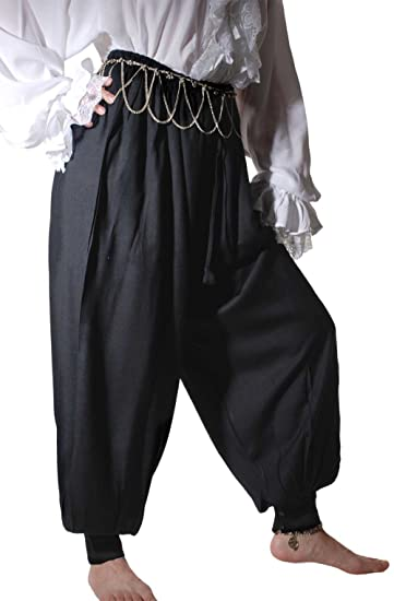 Deluxe Adult Costumes - Men's Medieval pirate Renaissance black harem pants