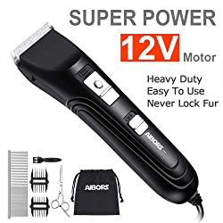 AIBORS Dog Clippers Shaver 12V High Power for Thick Heavy Coats Quiet Plug-in Pet Electric Professional Hair Grooming Clippers