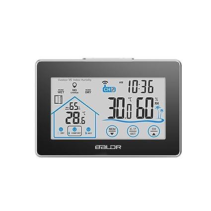 SXWY Estación Meteorológica Inalámbrica Interior Exterior Termómetro Digital Sensor De Humedad Al Aire Libre, Adecuado