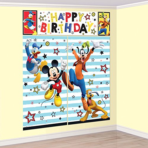 Amscan Disney Mickey Mouse on the Go Scene Setter With Props -