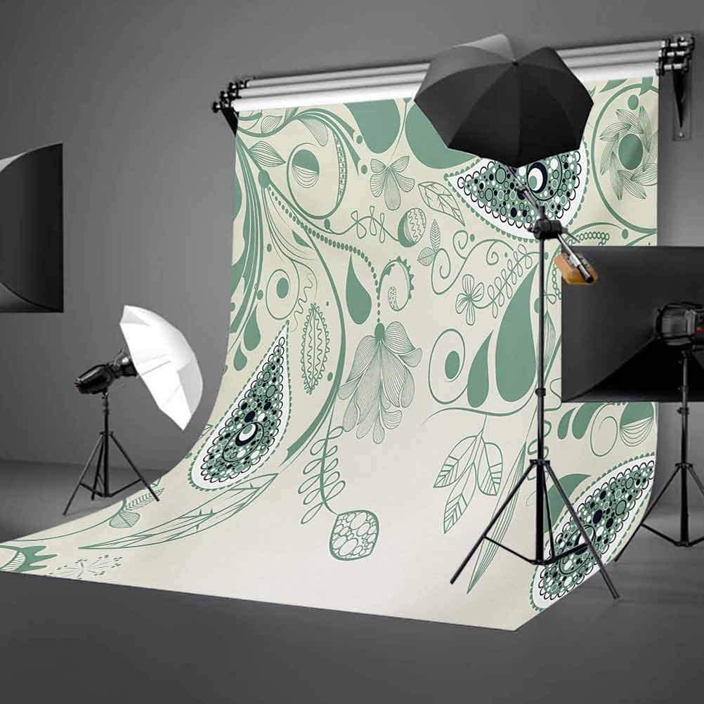 Modern 8x10 FT Backdrop Photographers,Symmetrical Motifs in Floral Style Old Fashioned Abstract Art Design Background for Photography Kids Adult Photo Booth Video Shoot Vinyl Studio Props