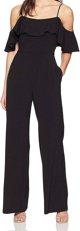 Eliza J Womens Wide Leg Ruffle Jumpsuit