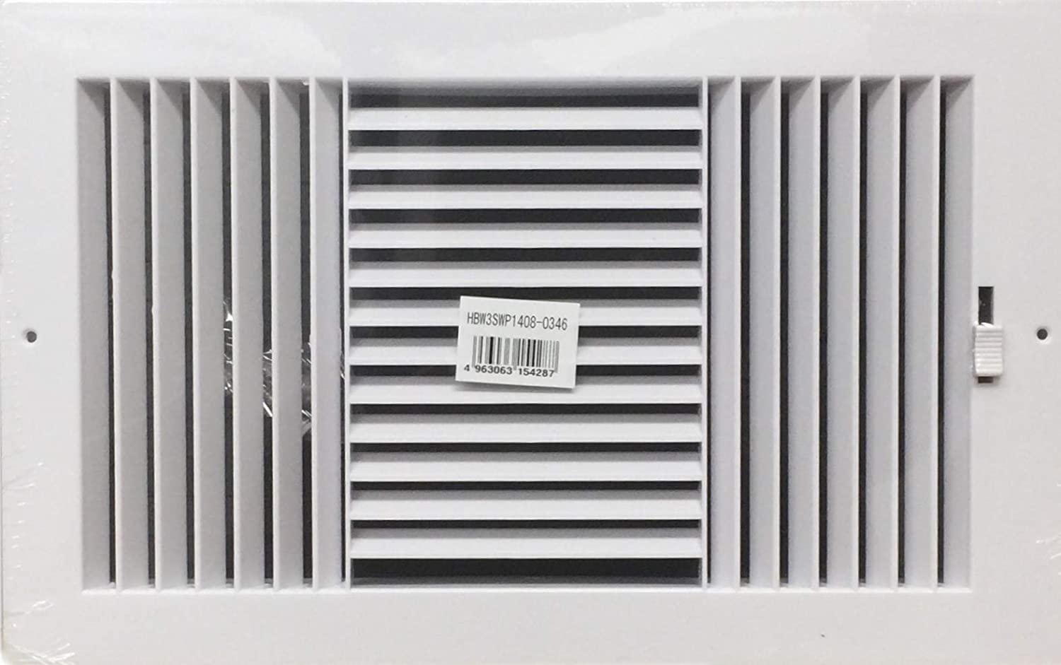 """Three-way plastic side wall/ceiling register in white 14""""w X 8""""h for duct opening (outside dimension is 16""""w X 10""""h)"""