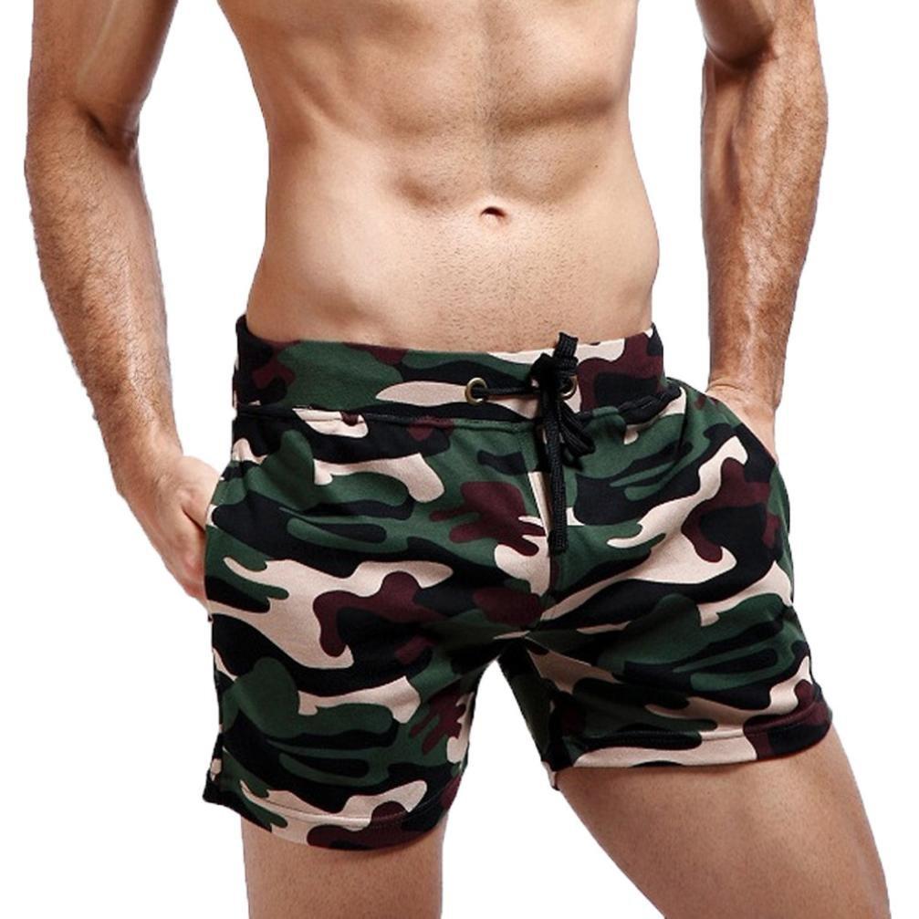 Yesmile Pantalones de Hombres Cortos Deportivos de La Aptitud del Harem del Camuflaje Elá stico del Deporte de Los Casuales Caseros (L, Rojo)