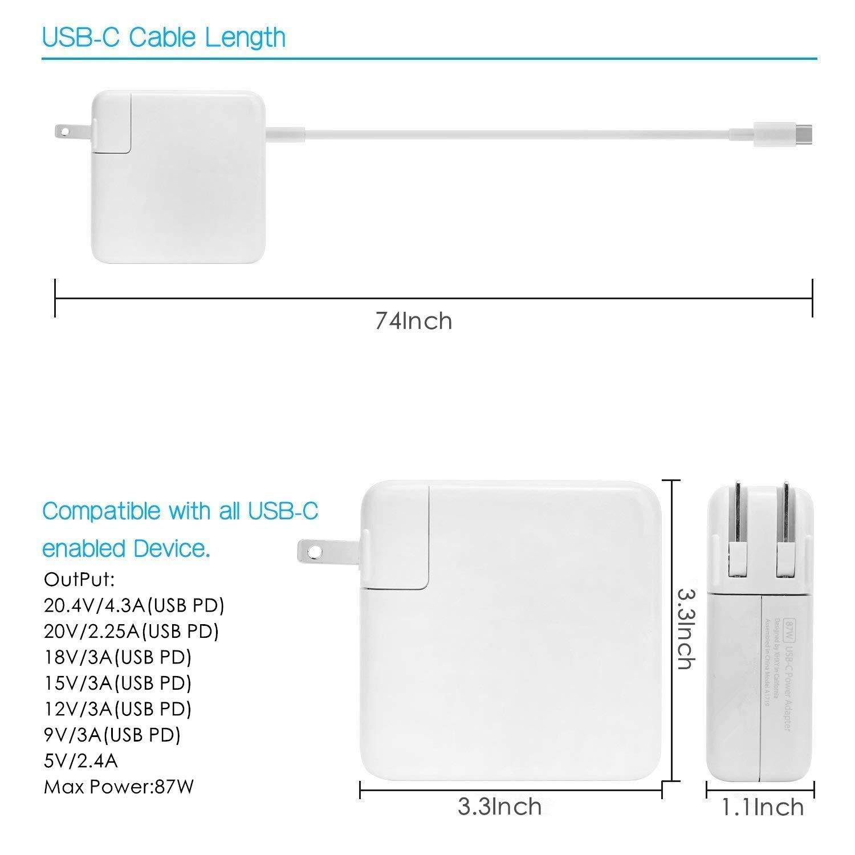 Amazon.com: Tancold - Cargador USB-C con puerto 3.0 de 87 W ...