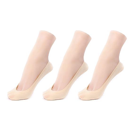 Conysan antideslizante invisibles calcetines para mujeres medias de borde bajo silicona antideslizantes barco calcetines calcetines de