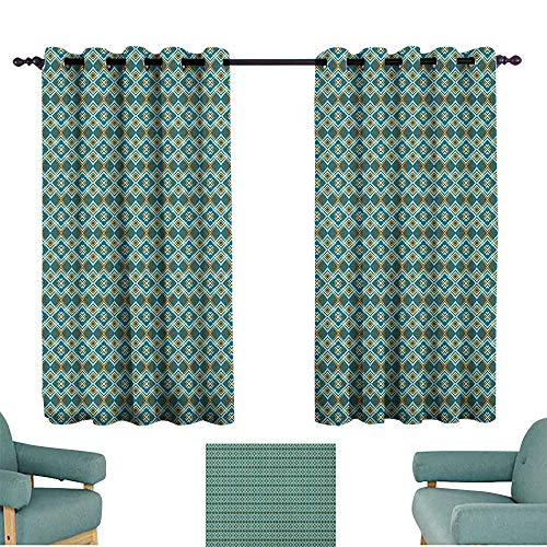 (Geometric Decor Curtains Abstract Overlapping Diamond Shapes with Symmetric Arrangement for Living, Dining, Bedroom (Pair) 55