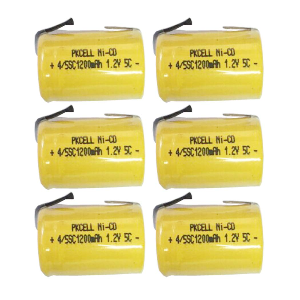 4/5SC Sub C 1.2V 1200mAh Ni-CD Rechargeable Battery Flat Top with Tab 6Pcs PKCELL